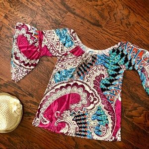 YiaYia Ponytail Off-the-Shoulders Boho Top